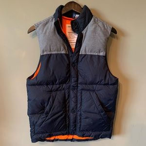 Divided Puffer Vest Size Extra Small Blue & Gray